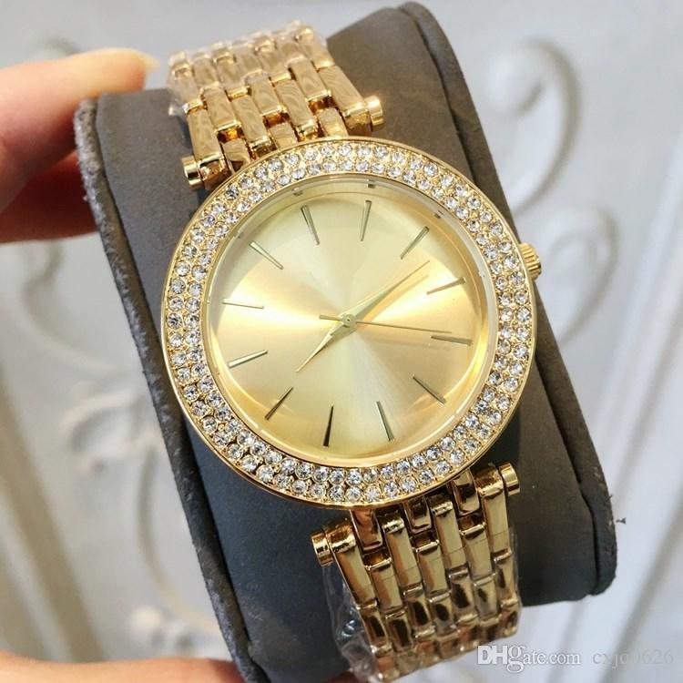 042653345f15 Compre Mujeres De Moda Reloj De Mujer Con Diamantes Completos Oro Amarillo    Oro Rosa   Plata   Espalda Pulsera De Acero Con Cadena De Diamantes De ...