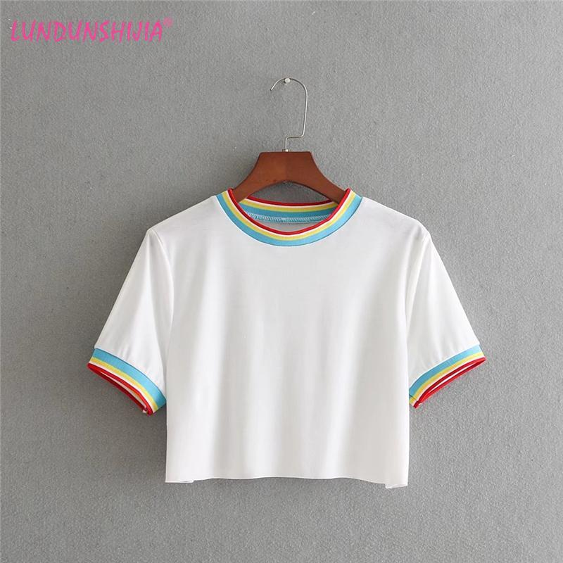 a363b746f4 LUNDUNSHIJIA 2018 European Style Summer Rainbow Stripe Sexy Crop Top Women  Tops Tank Crop Top White Cotton Cropped Feminino Tee Shirts Funny Tee Shirt  Sites ...