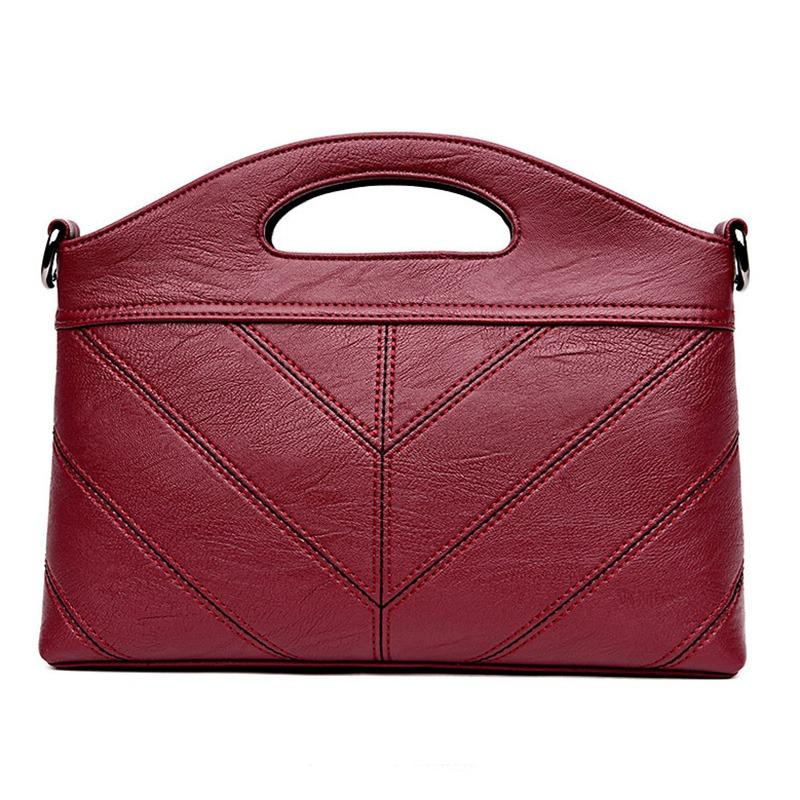 cfa4619eea91 Elegant Woman Bag Leather Handbags Adjustable Pure Color Large ...