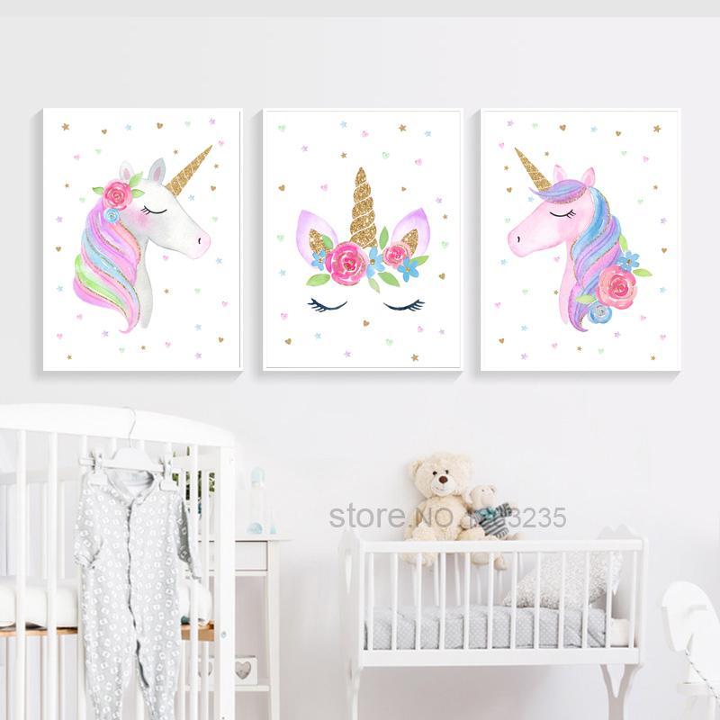 Satın Al Sevimli çocuk Posteri Unicorn Tuval Duvar Sanatı Baskı