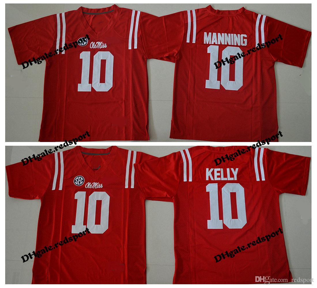 quality design 572cc da7cd 2018 Ole Miss Rebels College Football Jerseys Red 10 Eli Manning 10 Chad  Kelly University Stitched Football Shirts
