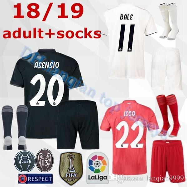 fe449625a8d 2019 18 19 Real Madrid Soccer Jerseys Adult Sets 2018 2019 ASENSIO MODRIC  BALE ISCO RAMOS SUAREZ Football Shirts Home Away Men S Kits Customize From  ...
