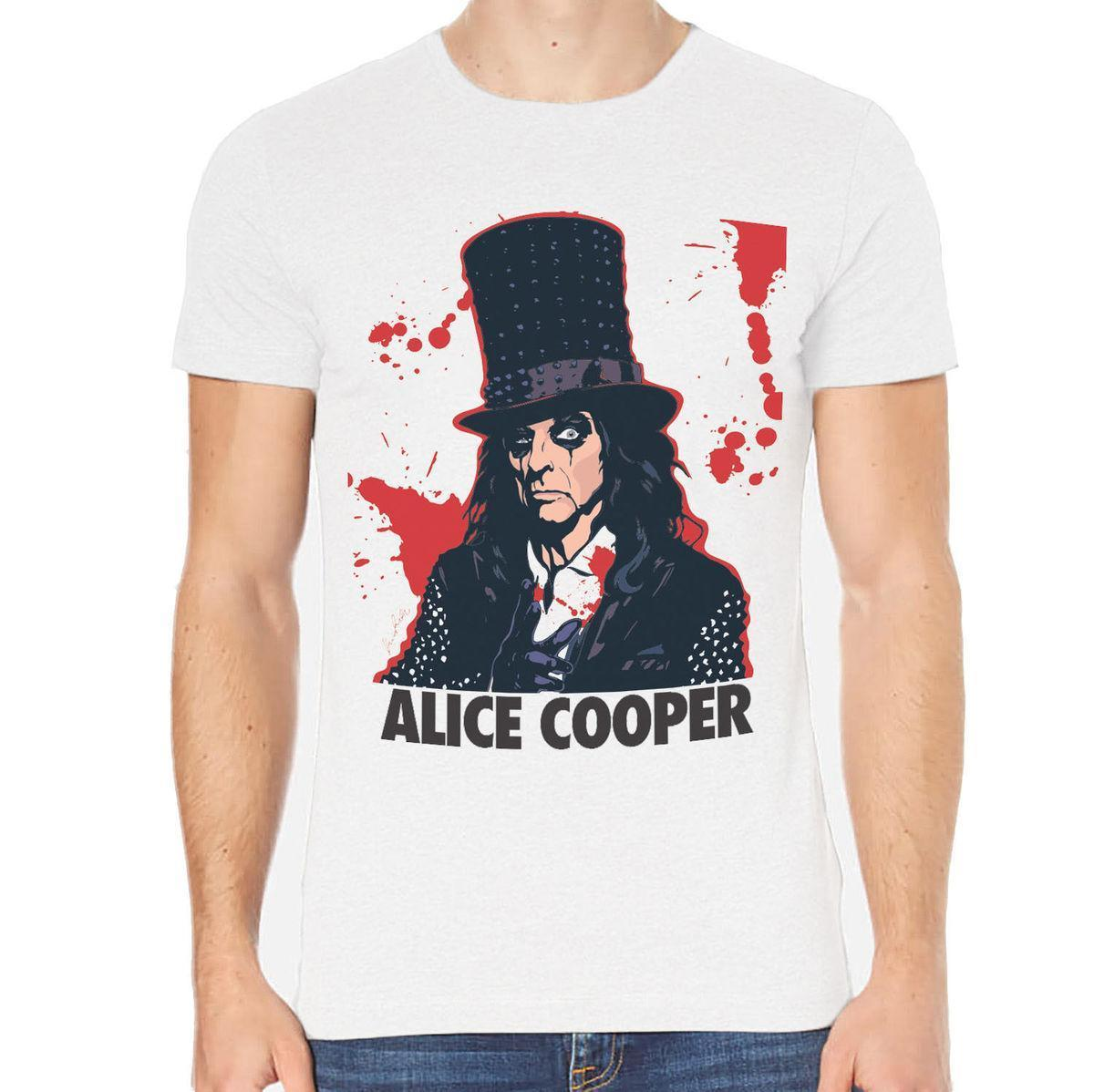 Maglietta Alice Cooper Rock T-Shirt Uomo Summer Summer O-Neck Hipster Top t-top