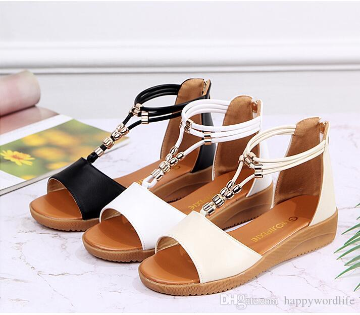 Ladies' new Bohemia water drill summer leisure student beach fashionable bottom black and white mom cool shoes