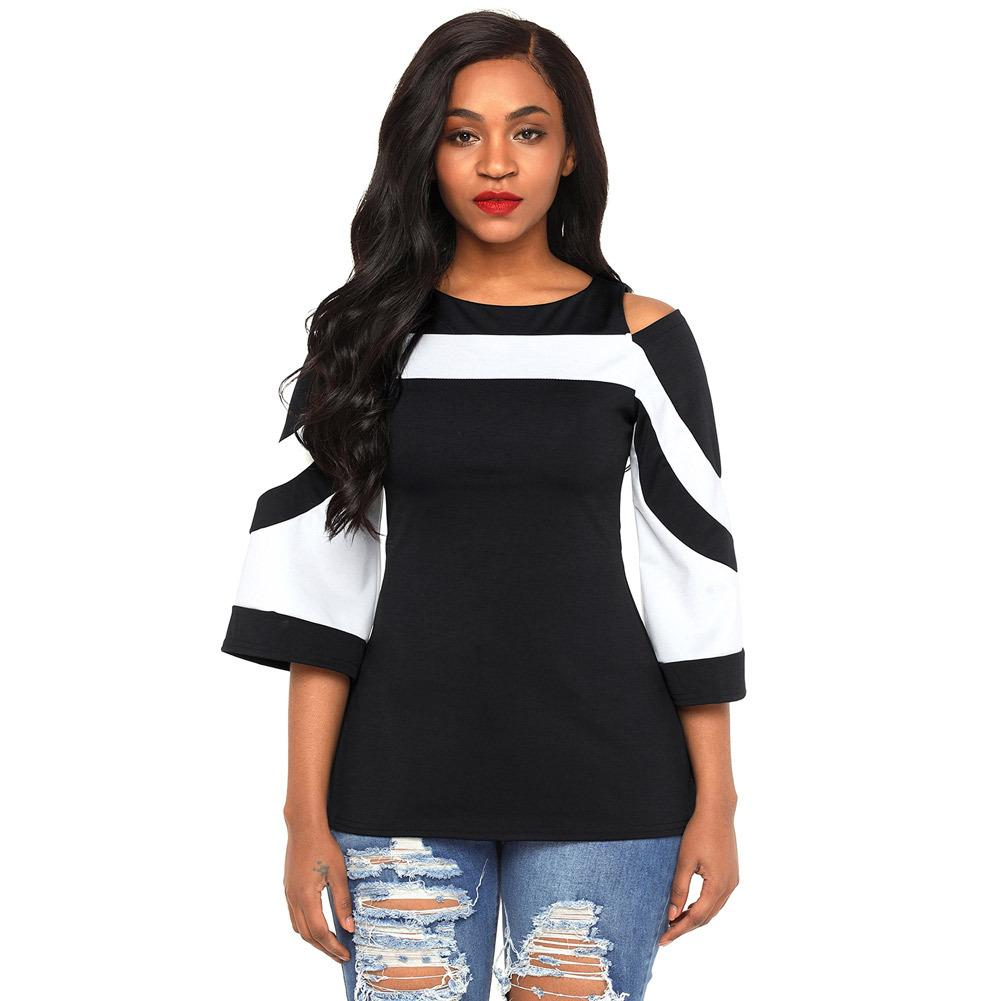 Women Blouse Black White Colorblock Bell Sleeve Cold Shoulder Top