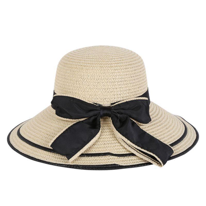 WEIXINBUY Summer Fashion Women Lady Wide Brim Beach Cap Trilby ... 65edab255f0d