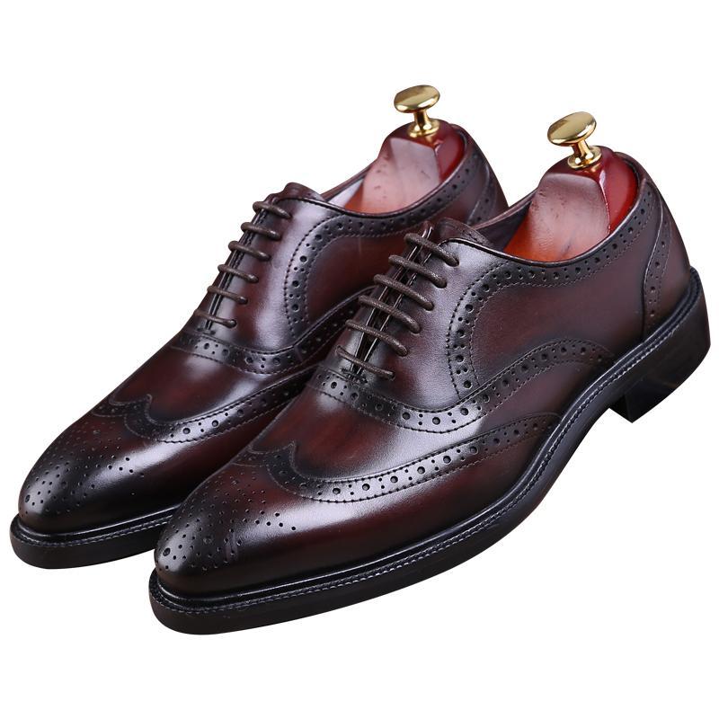 official photos 7cac1 a12b3 Mode braun tan / schwarz Goodyear Welt Schuhe Oxfords Herren Business  Schuhe echtes Leder Kleid Herren Hochzeit