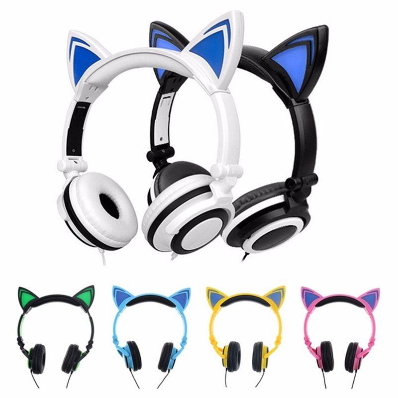 Plegable intermitente que brilla intensamente lindo gato oreja auriculares auriculares auriculares para juegos con luz LED para PC portátil de computadora portátil teléfono