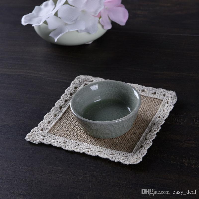 Yute Linen Square Table Mat taza Coaster Table Accesorio para el banquete de boda decoración del hogar 4 diferentes tamaños ZA6184