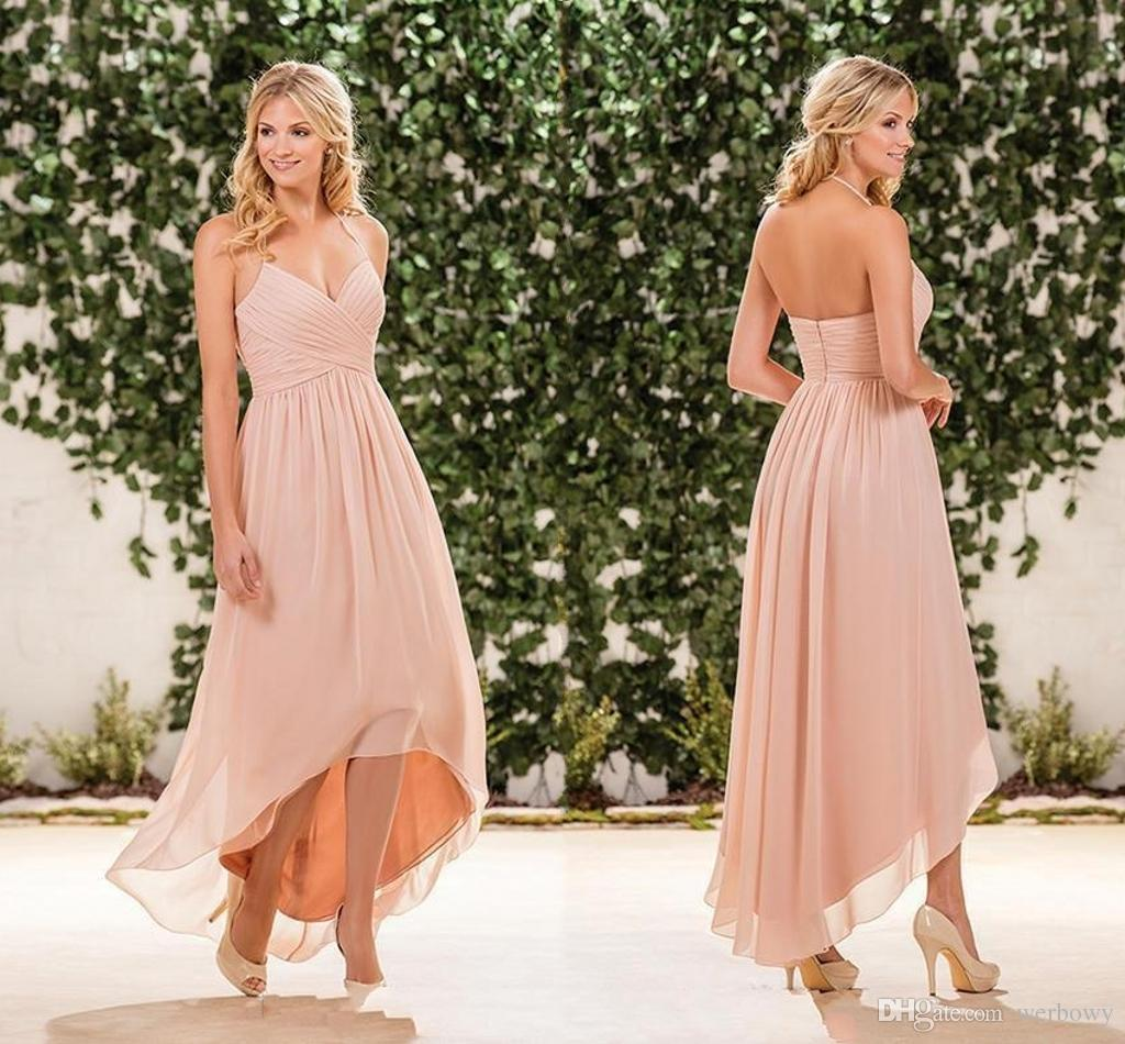 e801a5807eb Blush Pink Chiffon High Low Bridesmaid Dresses 2018 Cheap Halter Pleats  Back Zipper Long Beach Country Garden Maid Of Honor Gowns Simple Bridesmaid  Dresses ...