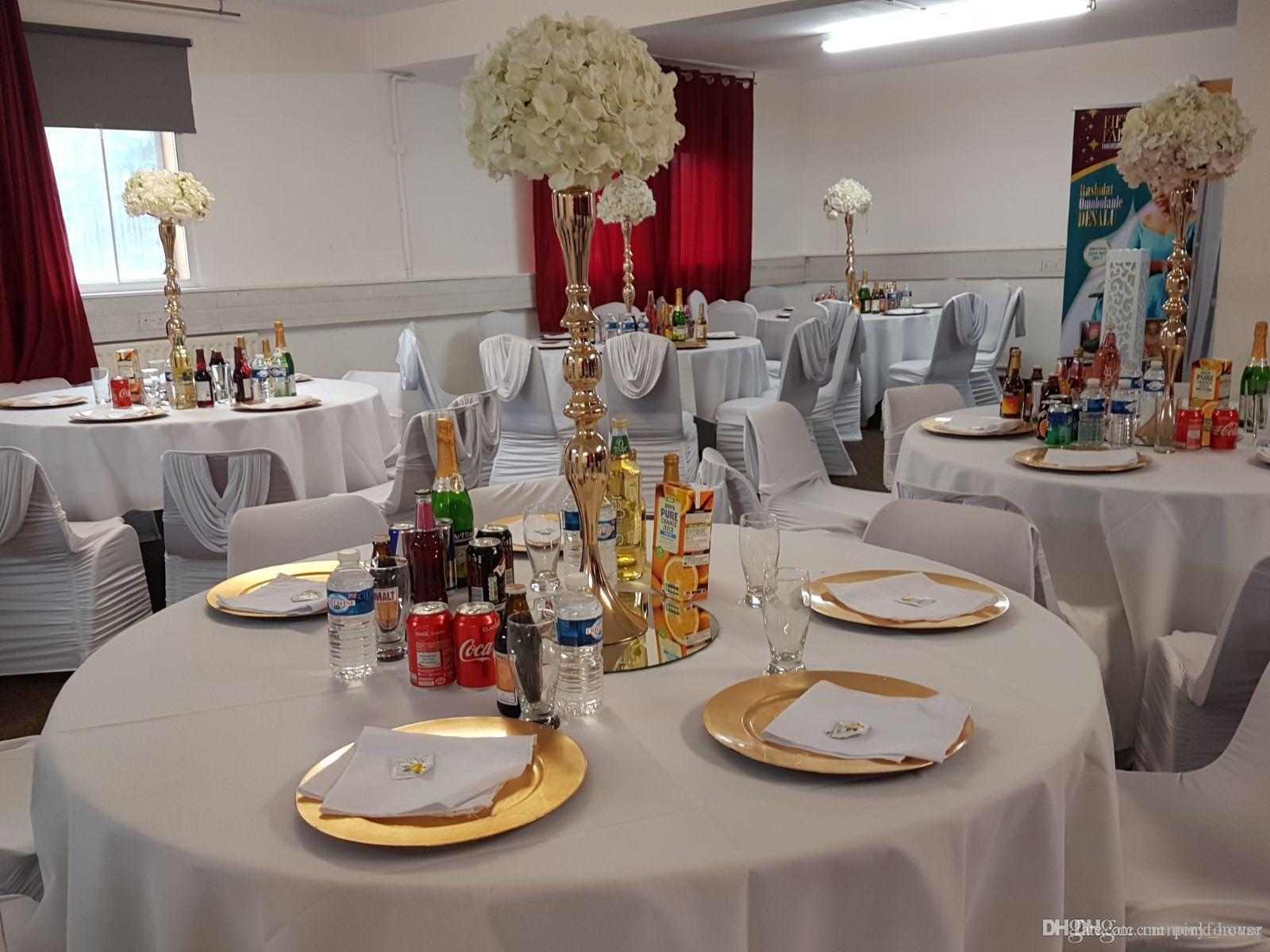 Gold Silver White Flower Metal Vase Wedding Centerpieces Artificial