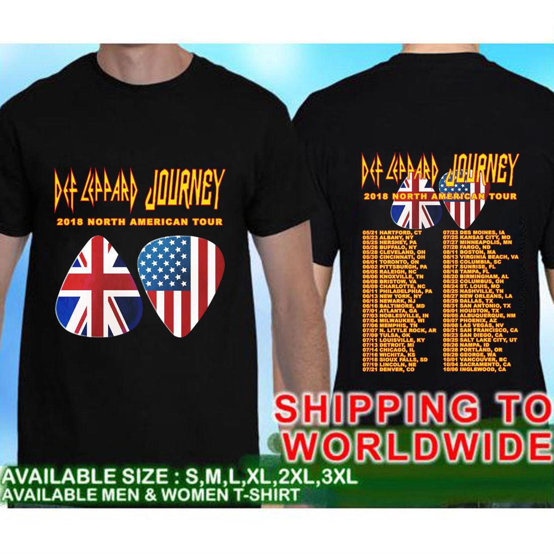 Def Leppard and Journey Summer Tour Dates 2018 Camiseta negra Talla S a 5XL Harajuku Cool Camiseta Homme Casual Fitness Men T Shirts