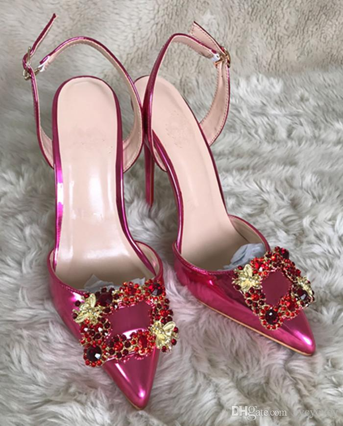 2018 red bottom shoes 10cm High Heels Slingbacks Sandals Rhinestone pointed toe lady Pumps sexy Women party Wedding shoes big size 34-44