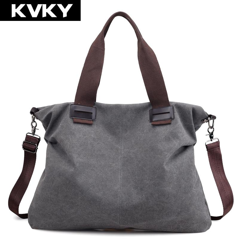 fc6d7118a340 KVKY Brand Fashion Canvas Women Handbags Large Capacity Lady Shoulder  Messenger Bags Female Crossbody Bag Casual Tote Bag Bolsas Side Bags  Handbag Brands ...