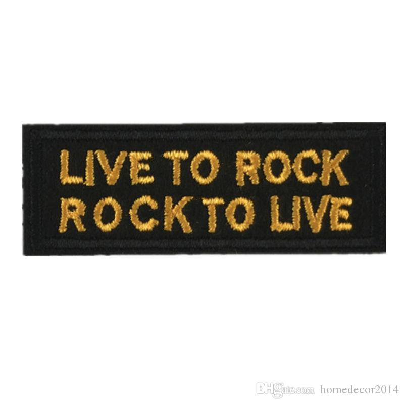 2019 live to rock embroidered letter patches sewing iron on badge for bag jeans hat appliques diy handwork sticker decoration apparel accessories from