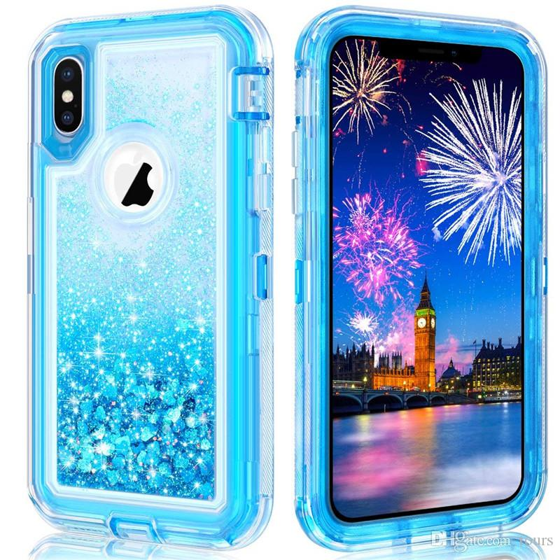 7b3b12b0fc For Iphone XR Case Glitter Liquid Quicksand Floating Flowing Sparkle Shiny  Bling Diamond Stylish Clear Cute Case For Iphone XS Max Cell Phone Pouches  ...