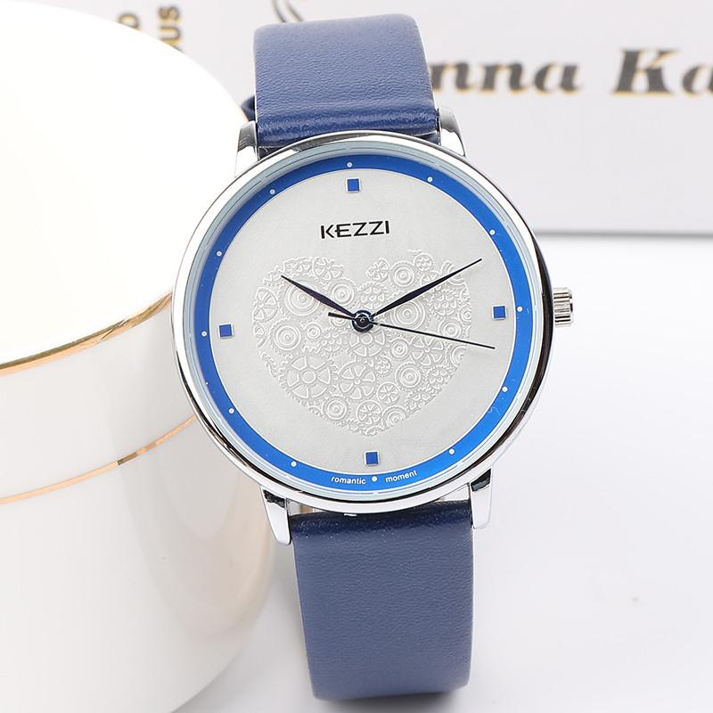 9fcc361bf058 Compre KEZZI Marca Amantes De Lujo Exquisito Reloj De Cuarzo Moda Simple  Dama Casual Vestido Retro Relojes De Cuero Para Hombres Mujeres Reloj De  Pulsera A ...