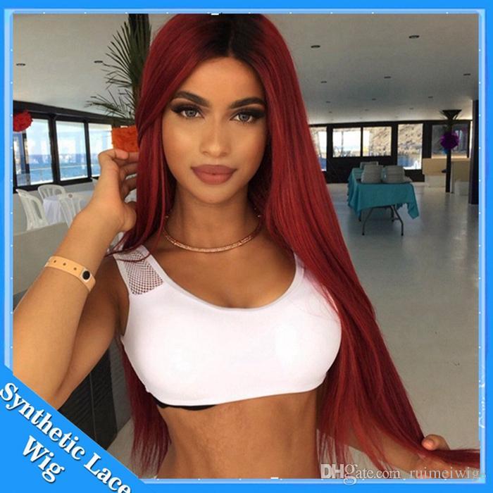 1b / bordeaux vino rosso ombre sintetico parrucca anteriore del merletto con i capelli del bambino serico dritto capelli ombre parrucca glueless anteriore del merletto le donne nere