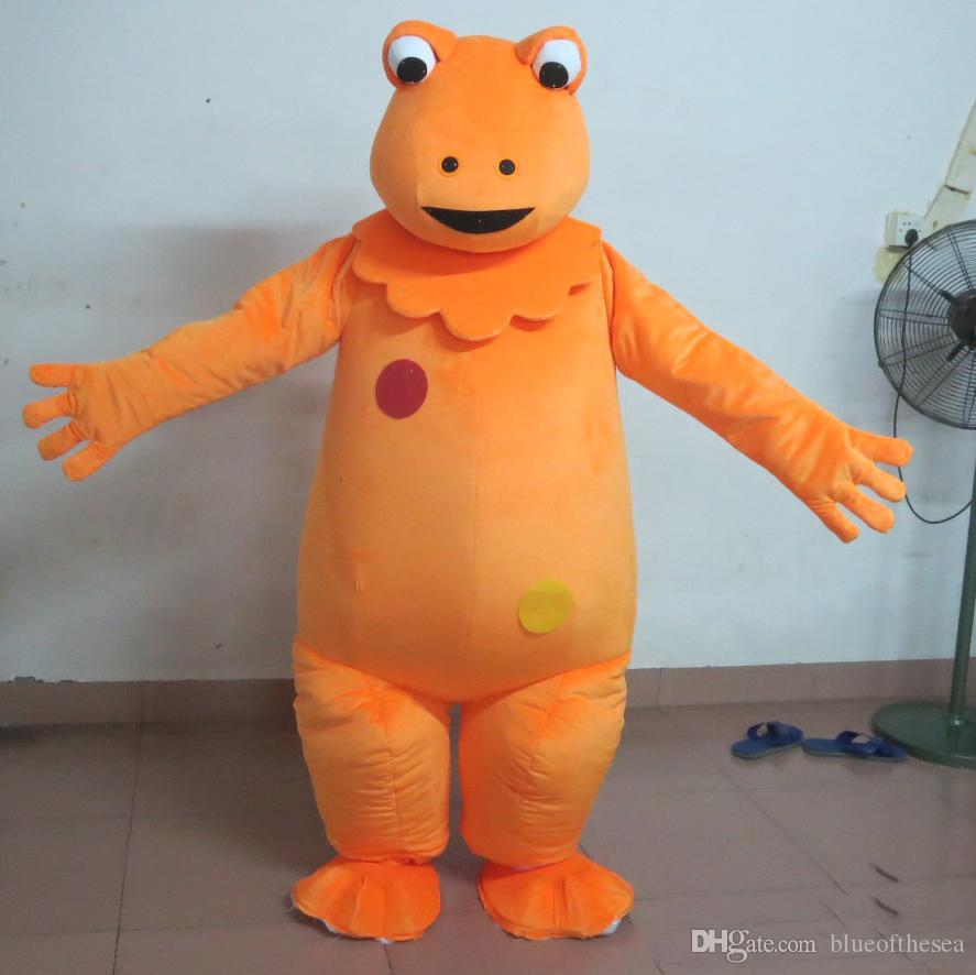 High quality hot orange colour dino dinosaur cartoon character mascot  costume suit for adult