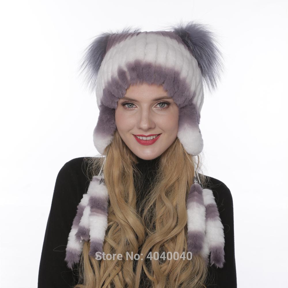 59c1f0eb5 Bravalucia Winter Bomber Hats for Women Rex Rabbit Furs with Silver Fox Fur  Pompom Russian Ushanka Earflap Thick Warm Cap Beanie