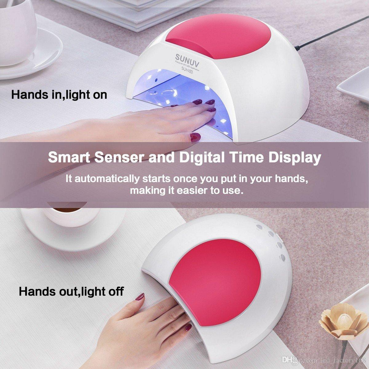 SUN2C 48W LED UV Nail Lamp Cures Polish Lights with 4 Timer Setting Senor For Gel Nails and Toe Nail Curing Hands dry