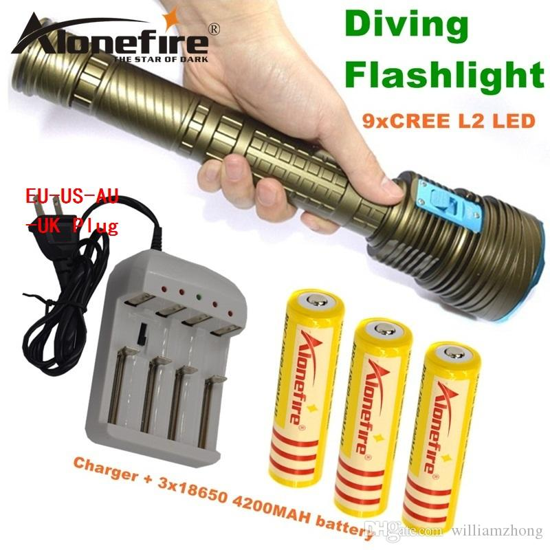 Alonefire DX9S LED Diving flashlight 9 x CREE XM-L2 21000LM LED Flashlight linternas Underwater 100M Waterproof Lamp Torch for 18650