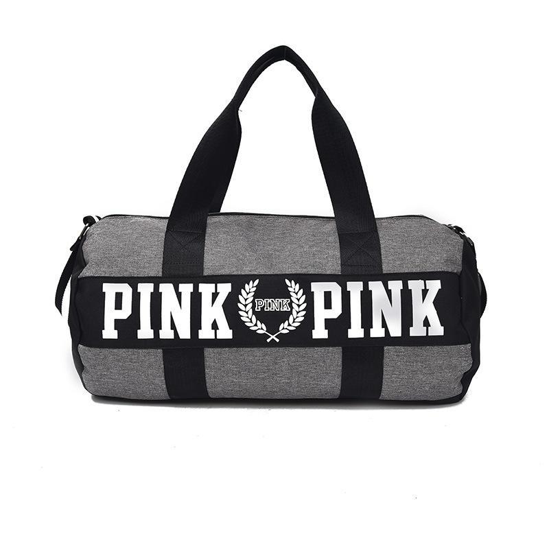 2018 Hot Girls Travel Bag Handbags Mulheres Carta Rosa Grande Capacidade de Viagem Sacos de Ombro Duffle Listrado À Prova D 'Água Saco de Praia