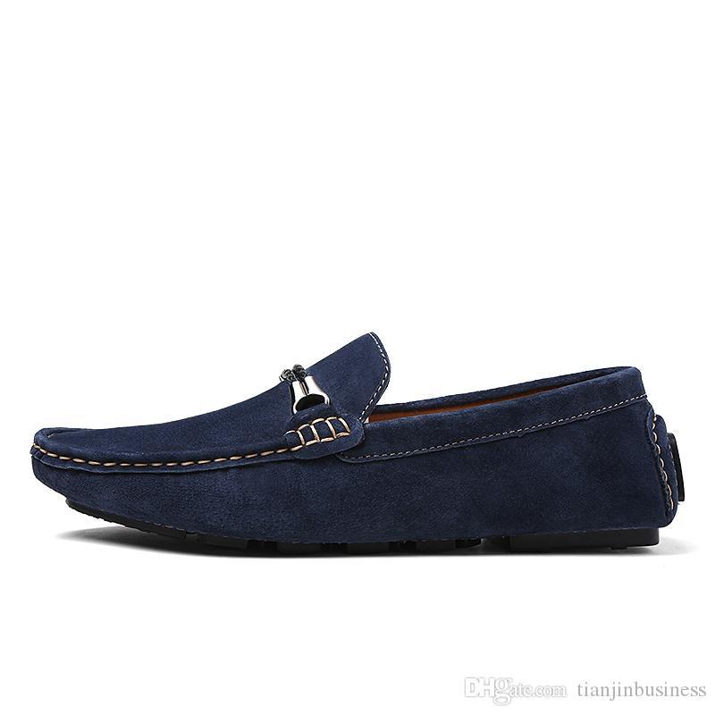 Nouveau style en cuir véritable Suede hommes Flats Chaussures de marque Mocassins Hommes Mocassins Pois Mode Chaussures wBIGhNTiG