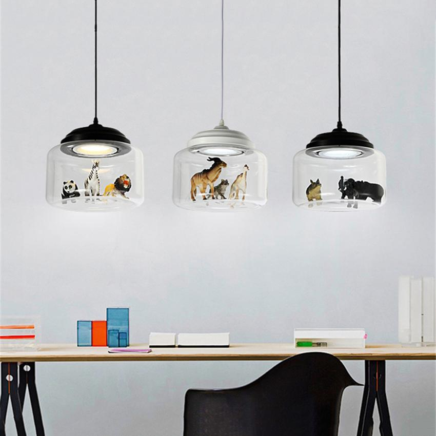 Modern Glass Led Pendant Lamps Lights Nordic Chandelier Postmodern Minimalist Animal Bar Lamps Bedroom Dining Room Hanging