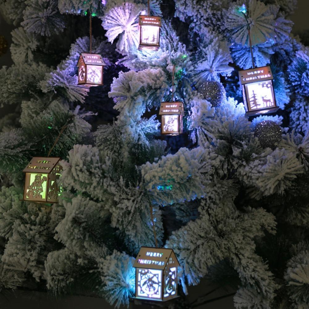 Luminous Christmas Tree Hanging Ornaments 7 Colors Warm Led Wooden House With Rope For Indoor Holiday Party Nice Gift Decor Y18102909