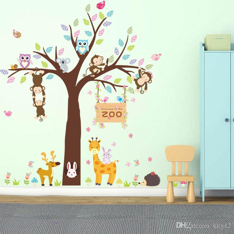 Large Cute Owl Monkey Tree Decal Cartoon Wall Stickers Animal Plant Decoration For Kids Room kindergarten Home Decor