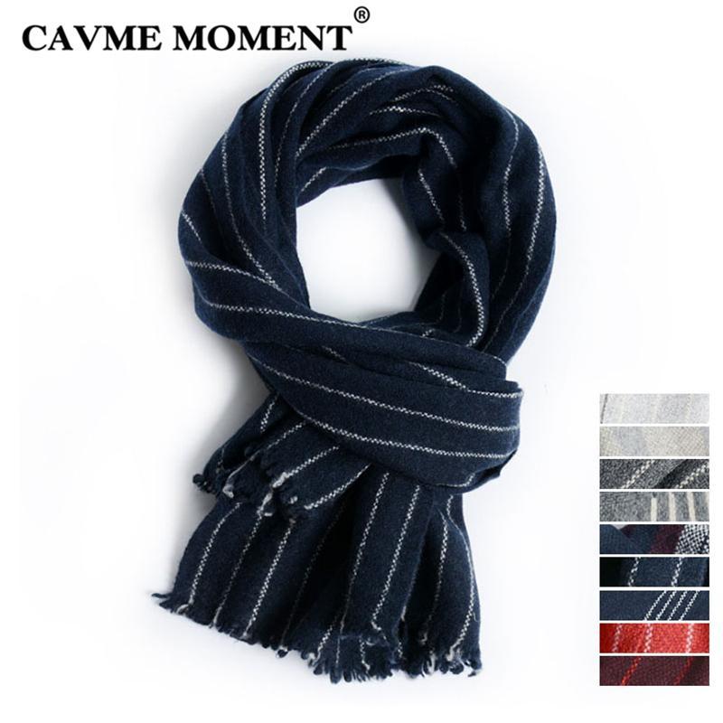 codice promozionale 42569 b61d0 CAVME Sciarpa uomo in lana per uomo Homme Sciarpe a righe Inverno 100% lana  avvolgere caldo scialle 43 * 174 cm 172g