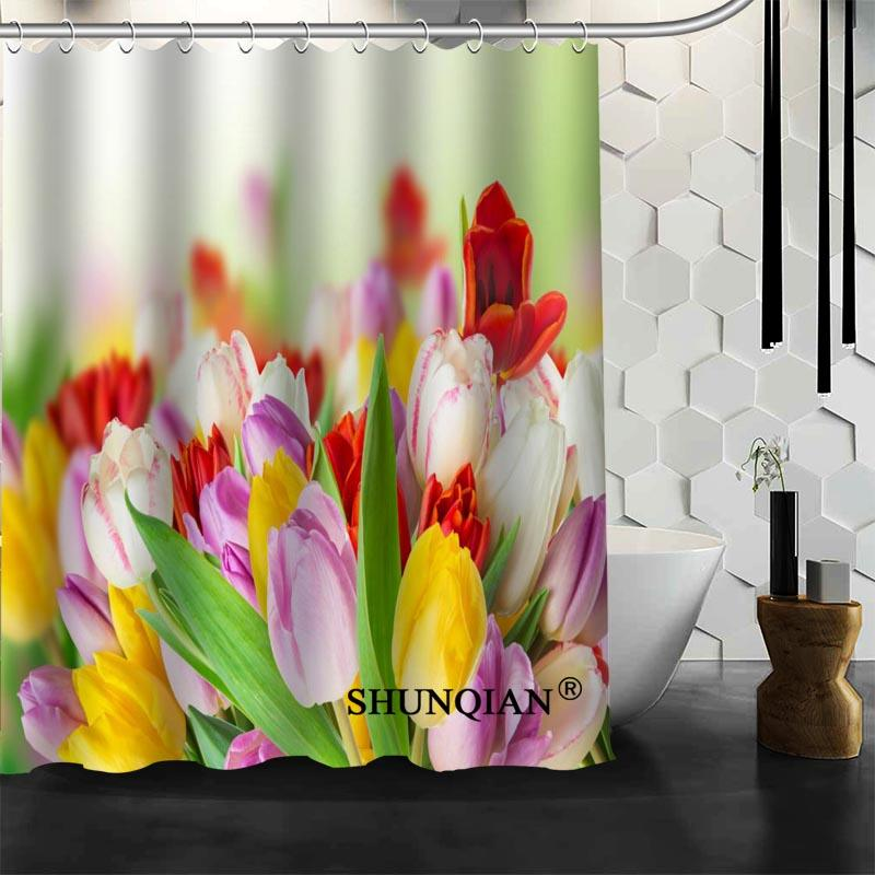 2018 New Bathroom Curtains Tulips Shower Curtain Customized Waterproof Polyester Fabric For From Caley 3005
