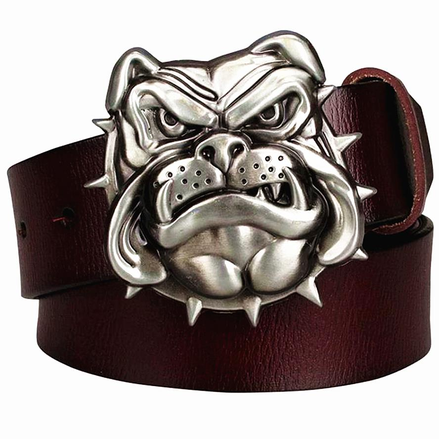 Fashion men's Genuine leather belt metal buckle bulldog head dog western style cowboy belts hip hop belt Street Dance
