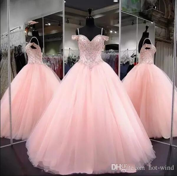 2020 Pink Ball Gown Quinceanera Dresses Spaghetti Straps Off Shoulder Crystal Beads Tulle Prom Evening Gowns Sweet 16 Gowns