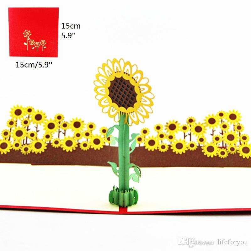 Sunflower Birthday Party Decorations Kids Greeting Cards Favors 3D Pop Up Card