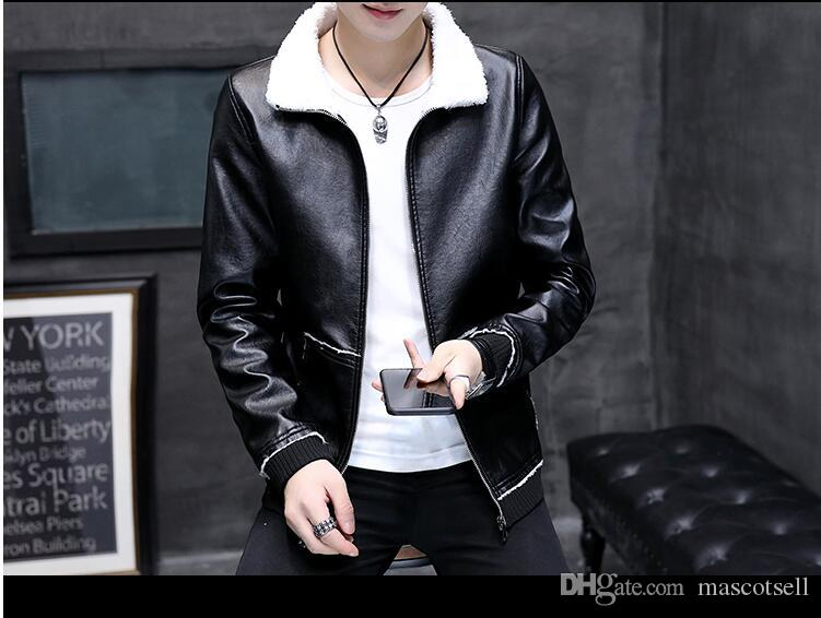 ed7fe87b279e 2019 2018 Winter Warm Wool Jacket Men Faux Leather Slim Casual Loose Mens  Jacket PU Bomber Jacket Mens Jackets Coats From Mascotsell,  36.55    DHgate.Com