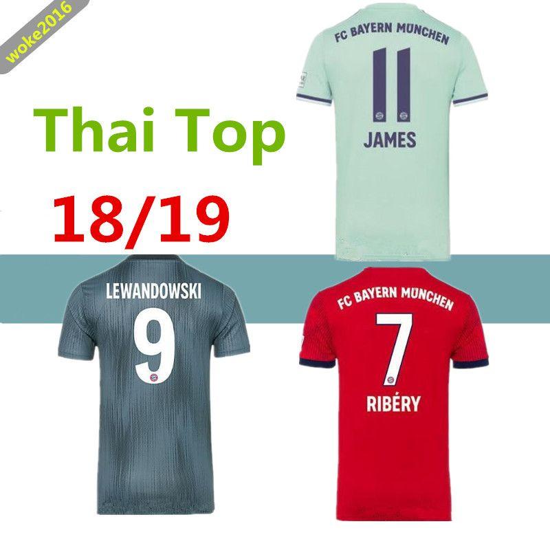 first rate ad55c 5b55d New 2018 2019 Bayern Munich football jersey Thailand quality  MüllerRIBERYROBBEN LEWANDOWSKI football shirt Bayern Munich football uniform