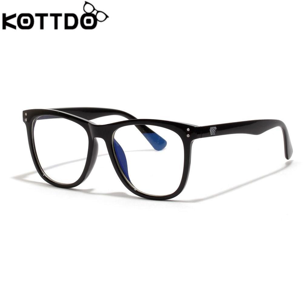 6cb34ccd54 Compre Gafas KOTTDO Mujeres Hombres Luz Azul Anti Azul Espejo Marco Negro  Gafas De Arte Monturas De Gafas Femeninas Lentes Opticos Mujer A $22.77 Del  ...