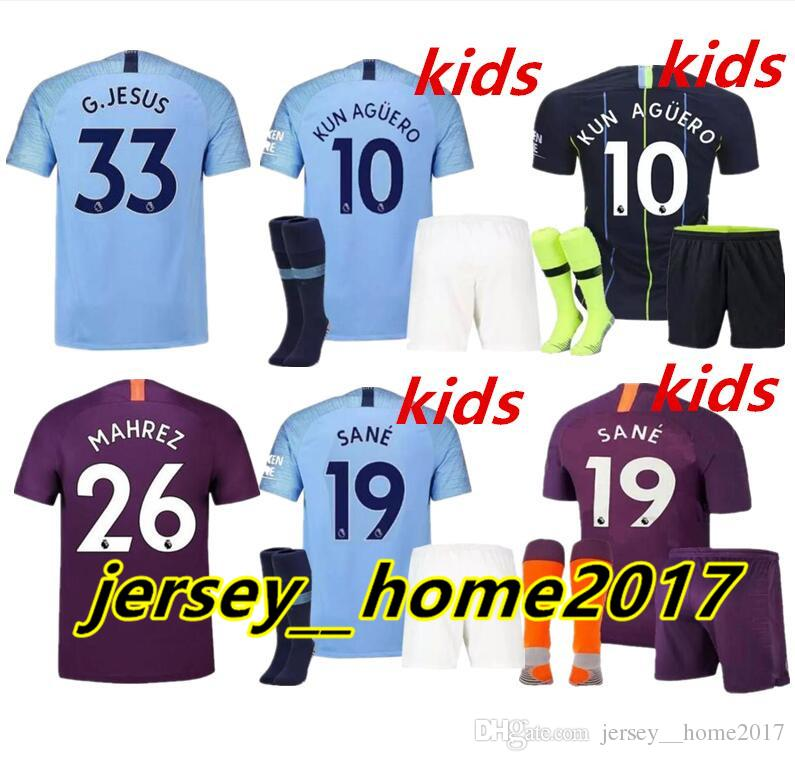 2019 18 19 Man City Soccer Jersey Home Kids Kit 2019 City Away DZEKO KUN  AGUERO KOMPANY TOURE YAYA DE BRUYNE Man Women And Child Football Jersys  From ... fa9c119b2