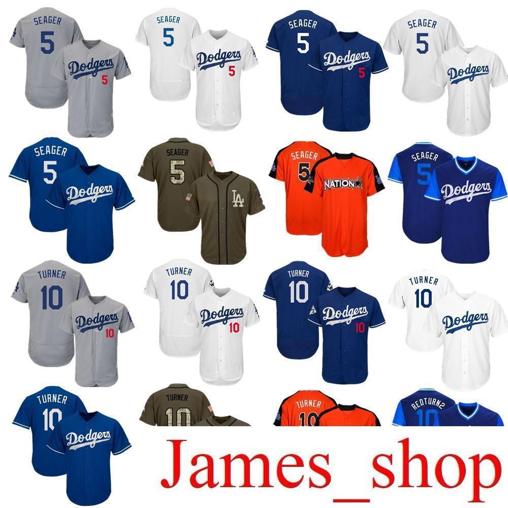 2019 Men Women Youth Dodgers Jersey 5 Seager 10 Turner Baseball Jersey  White Gray Grey Blue Green Salute To Service Players Weekend All Star UK  2019 From ... 5c67356325f