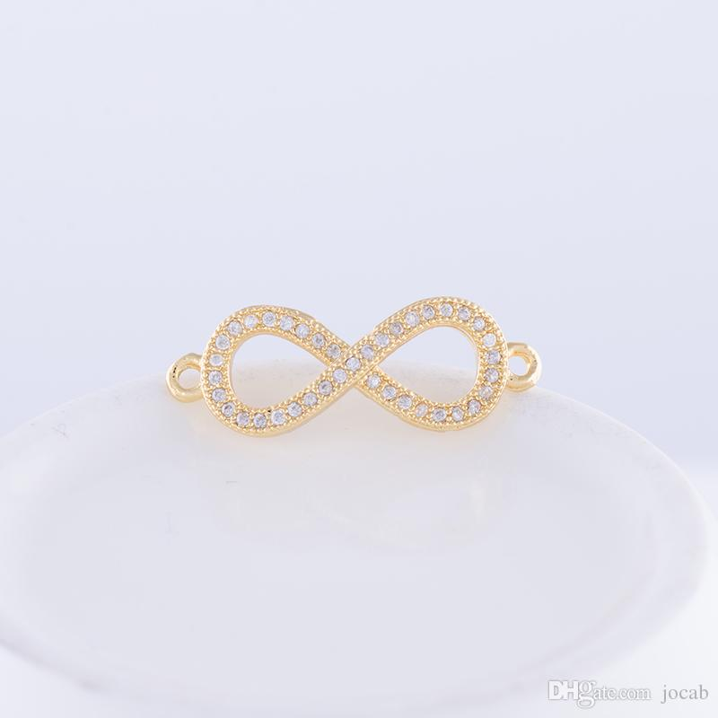 Wholesale DIY Handmade Jewelry Component Findings Earrings Bracelet Rhinestone Infinity Symbol Charms Necklace Pendant Connector Accessories