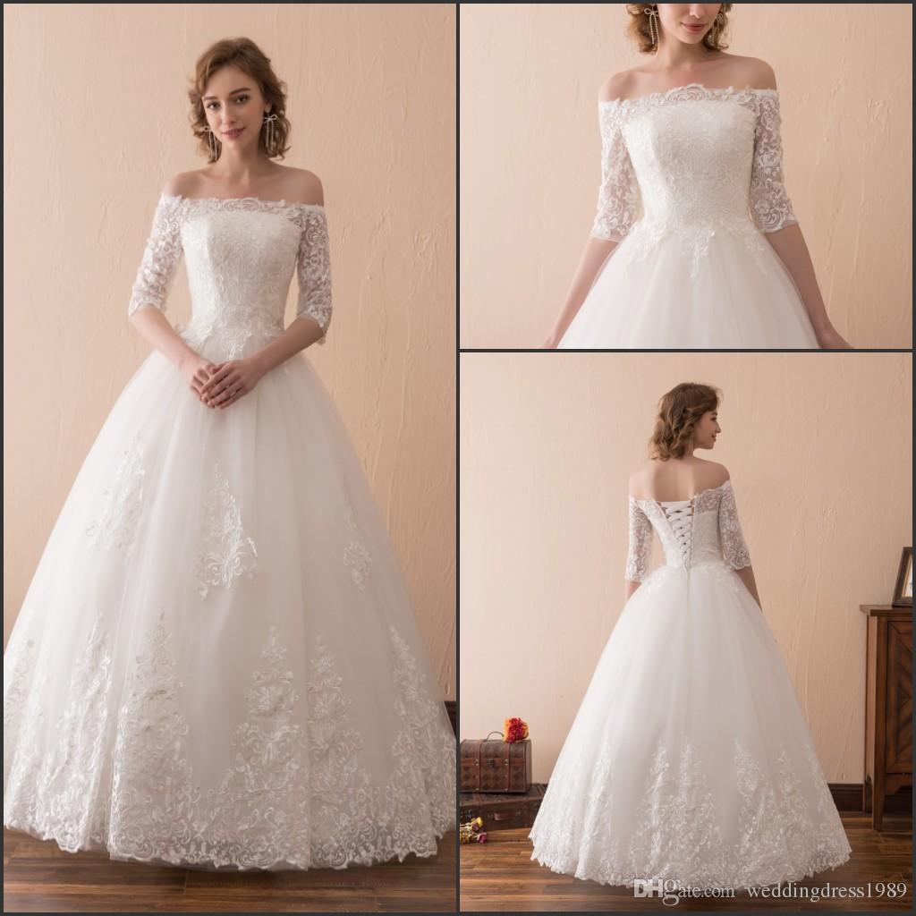 Elegant Lace Half Sleeve Bateau Neck Wedding Dresses Floor Length