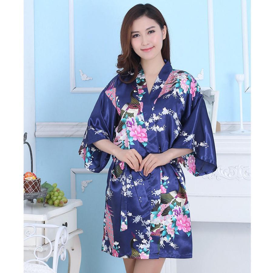9cd3439757 2019 Women s Silk Satin Wedding Bride Bridesmaid Robe Floral Bathrobe Short  Kimono Robe Night Robe Bath Robe Dressing Gown Hot  406 From Baimu