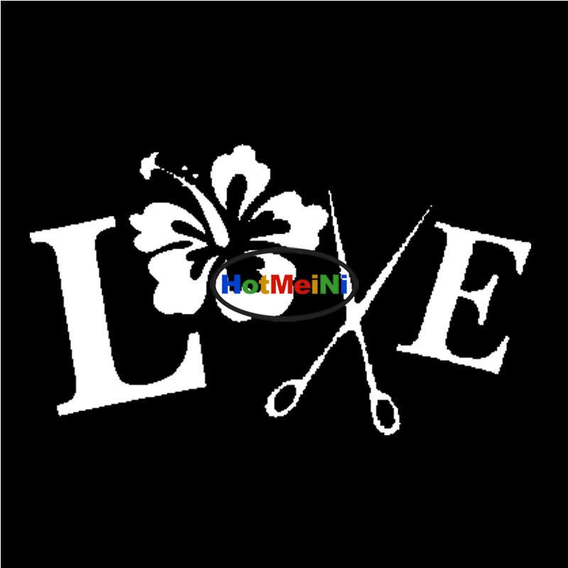 2019 Wholesale Car Sticker Hairstylist Love Hibiscus Flowers And