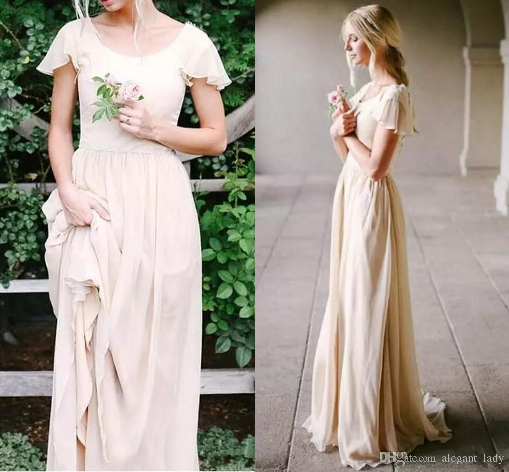 Discount Champagne Modest Wedding Dresses With Flutter Sleeves A