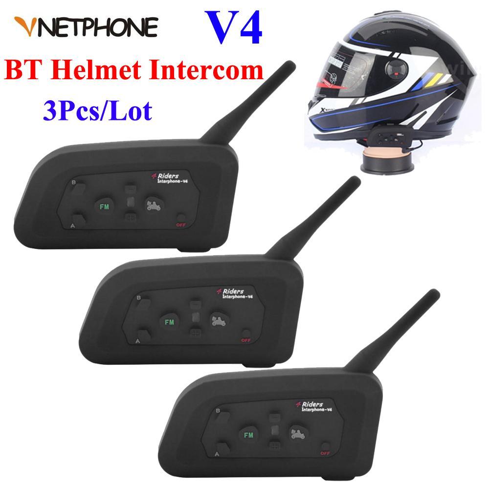 1200m V4 Motorcycle Bluetooth Helmet Headset Intercom 4 Riders Talk ...