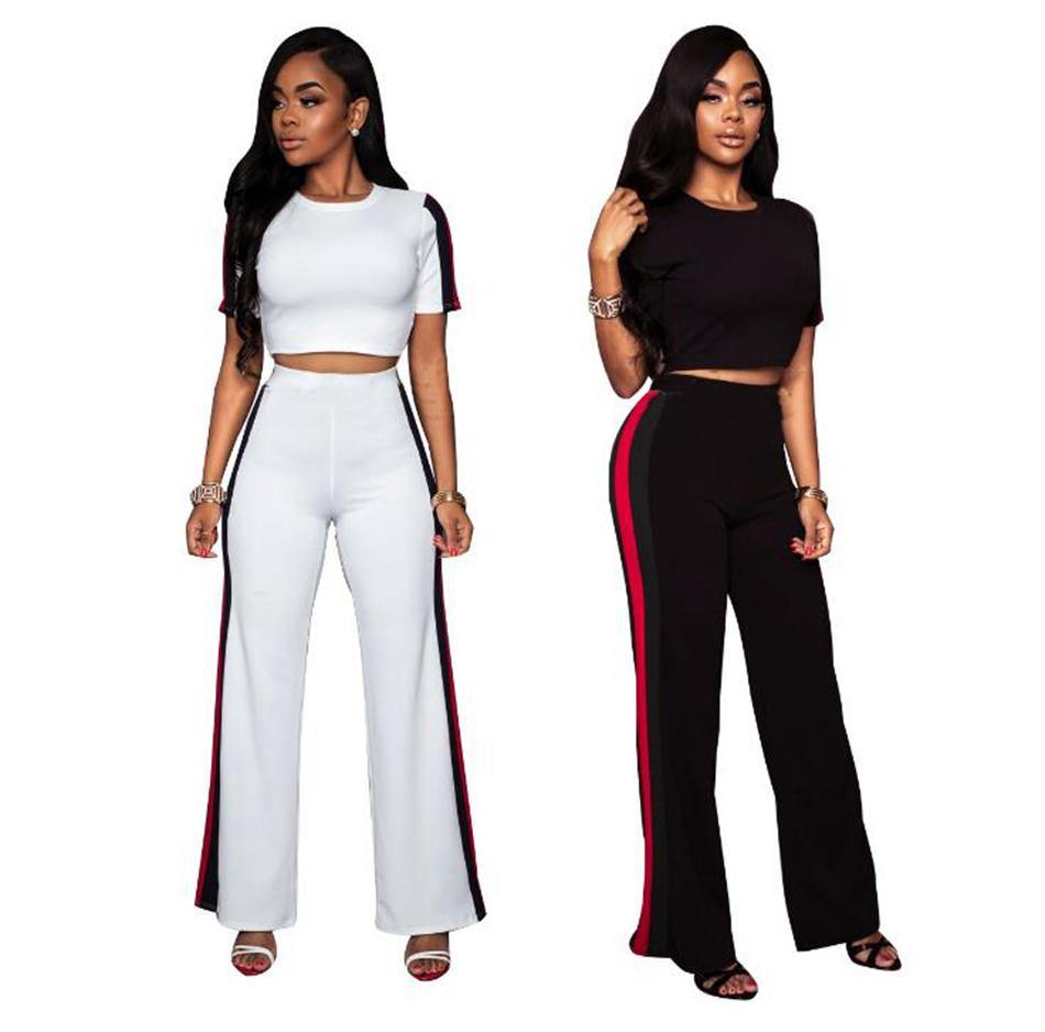 2b736edb450d Patchwork Striped Short Bare Midriff Tops Suits Wide Leg Pants Bodycon  Night Club Two Piece Sets OOA4929 Patchwork Striped Suits Wide Leg Pants  Sets Striped ...