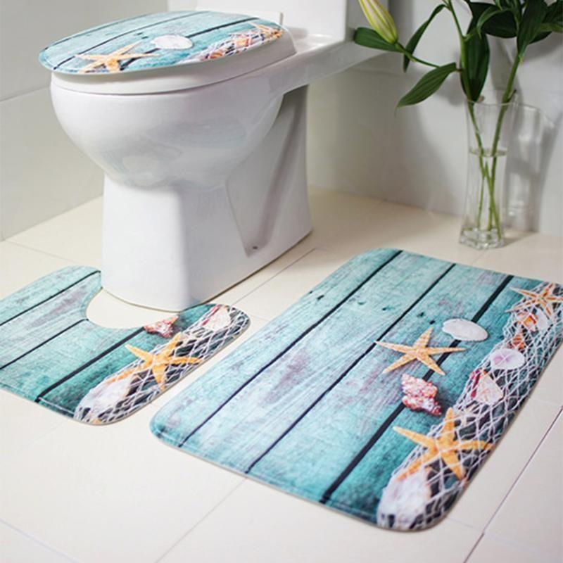 Sea Star Printing Toilet Seat Cover Bathroom Non-Slip Carpet Mat ...