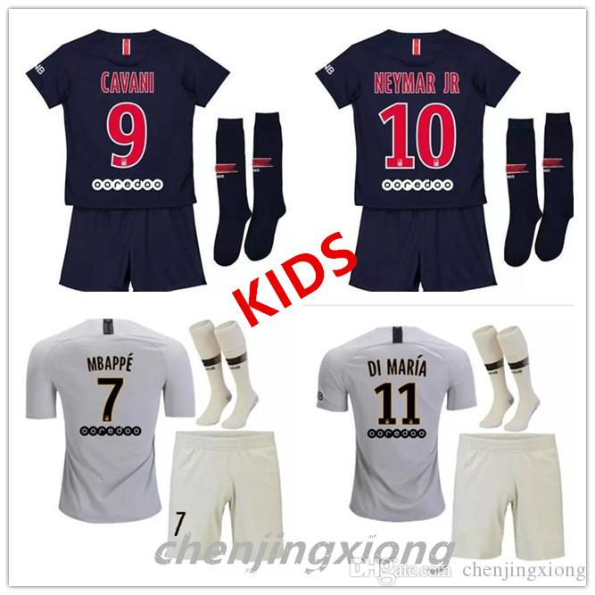 fd3102dc460 2019 2018 2019 PsG Kids Kit Soccer Jerseys 18 19 Mbappe Home Away VERRATTI  CAVANI DI MARIA MAILLOT DE FOOT Child Survetement PsG Kids Kit Sock From ...